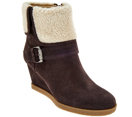 """As Is"" Isaac Mizrahi Live! Suede Wedge Ankle Boots w/ Faux Sherpa"