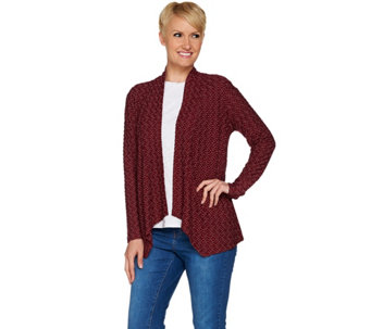 Joan Rivers Textured Wave Knit Waterfall Cardigan - A279625