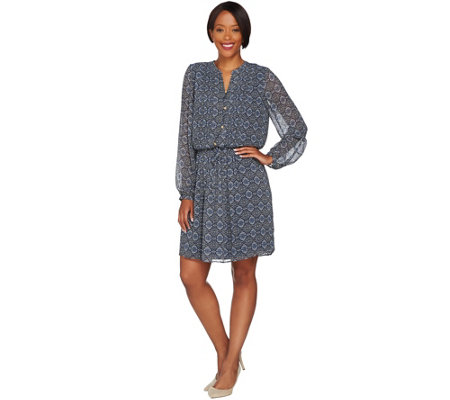 C. Wonder Printed Chiffon Long Sleeve Dress with Pleating