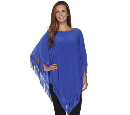 Attitudes by Renee Jersey Knit Poncho with Fringe Detail