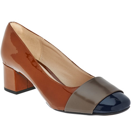 """As Is"" Clarks Narrative Leather Block Heeled Pumps - Chinaberry Sky"