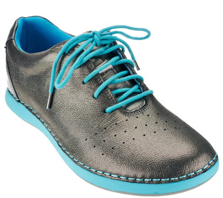 """As Is"" Alegria Leather Lace-up Sneakers - Essence"