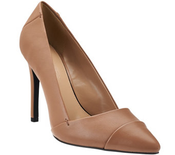 """As Is"" H by Halston Leather Pointed-Toe High Heel Pumps - Lillian - A282225"