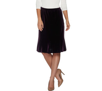 Susan Graver Stretch Velvet Knee Length Skirt - A282925