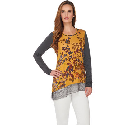 LOGO by Lori Goldstein Printed Knit Top with Lace Hem