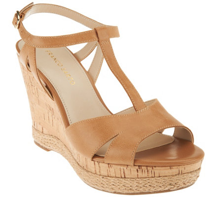 """As Is"" Franco Sarto Leather T-strap Wedges - Swerve"