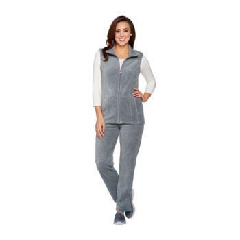 Denim & Co. Active Vest and Pants Velour Set