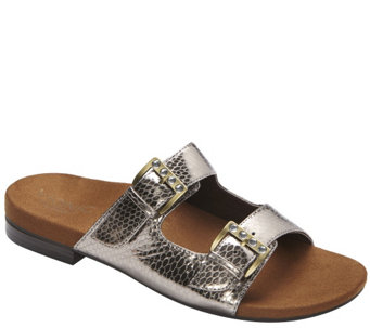 """As Is"" Vionic w/Orthaheel Leather Double Strap Sandals - Czarina - A284625"