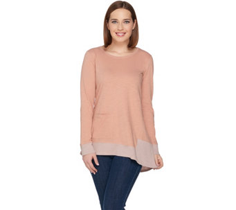 LOGO by Lori Goldstein Cotton Slub Knit Top with Asymmetric Hem - A284925