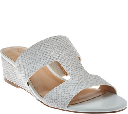 """As Is"" H by Halston Cut-out Leather Sandals with Mini Wedge - Regan"