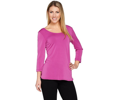 Attitudes by Renee Double-Scoop Moss Crepe Knit Top