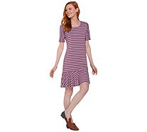LOGO by Lori Goldstein Striped Knit Dress with Flounce Hem - A288025