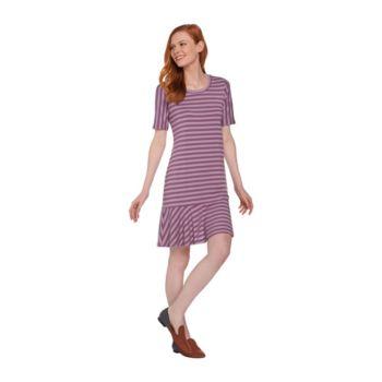 LOGO by Lori Goldstein Striped Knit Dress with Flounce Hem