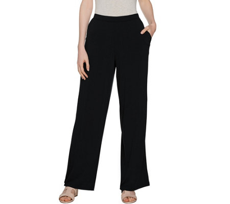 H by Halston Petite Jet Set Jersey Wide Leg Pull-on Pants