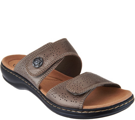 Clarks Leather Double Adjust Slide Sandals - Leisa Lacole