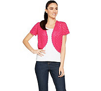 Susan Graver Hand Crochet Short Sleeve Shrug - A289425