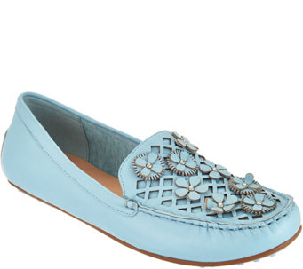 Isaac Mizrahi Live! Leather Moccasins with Floral Applique - A291325