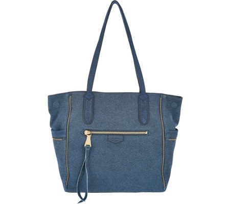 Aimee Kestenberg Genuine Leather Convertible Tote Bag- Cielo