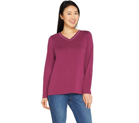 Denim & Co. Essentials Long Sleeve Top w/ Metallic Stitch Detail