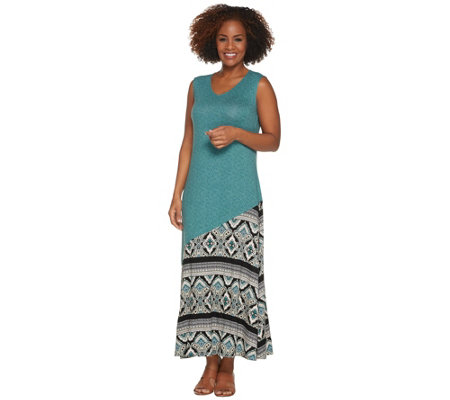 Joan Rivers Regular Length Mixed Pattern Sleeveless Maxi Dress
