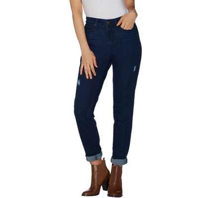 Martha Stewart Petite Distressed Girlfriend Jeans