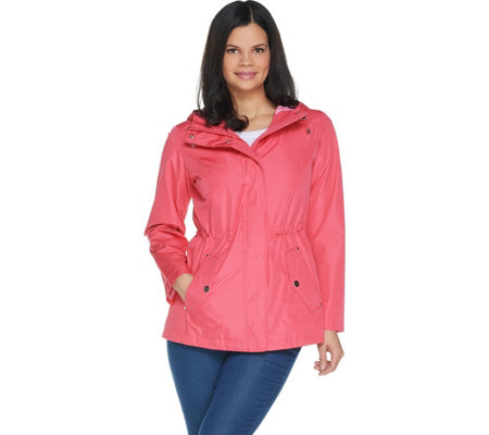 Susan Graver Zip Front Anorak Jacket with Striped Lining