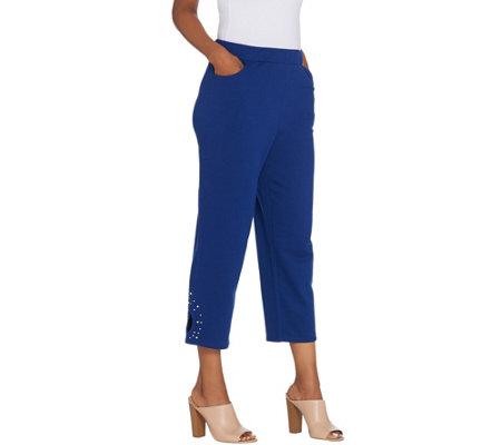Quacker Factory Pearl and Shine Knit Crop Pants with Keyhole Detail