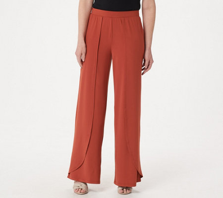 H by Halston Petite Jet Set Jersey Fly-Away Wide Leg Pants
