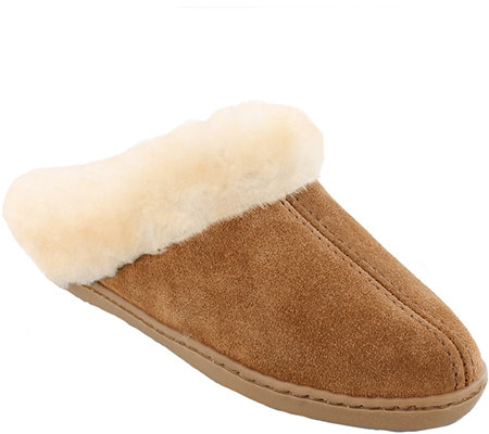 Minnetonka Leather Mule Slippers - Sheepskin Mule