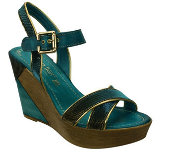 Napa Flex by David Tate Leather Wedge Sandals -Cocktail - A339925