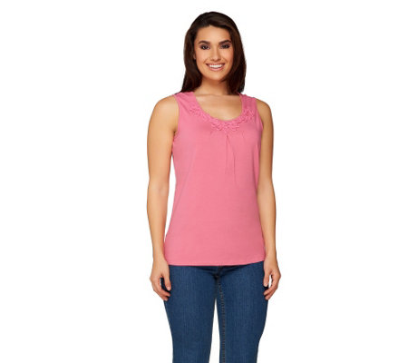 Denim & Co. Perfect Jersey Sleeveless Tank w/ Ribbon Neckline Detail