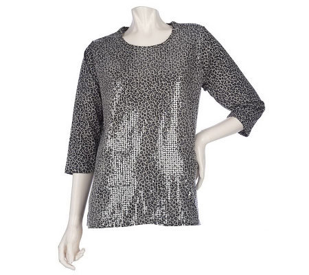Quacker Factory 3/4 Sleeve Animal Printed Sequin T-shirt