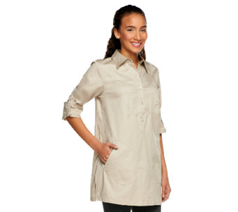 Linea by Louis Dell'Olio Poet Blouse with Pockets - A213626