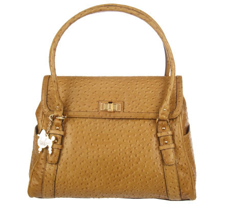 Janie Bryant MOD OstrichEmbossed Leather Shoulder Bag