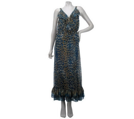 M by Marc Bouwer Animal Print Maxi Dress w/Ruffle Detail