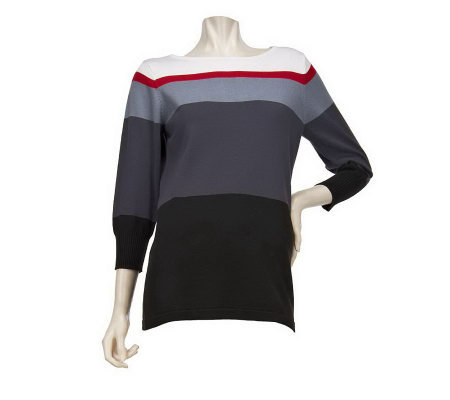 Bob Mackie's Scoop Neck 3/4 Sleeve Colorblock Ombre Sweater