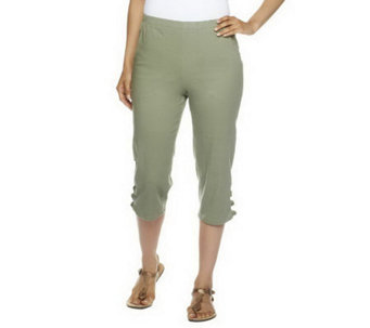 "Denim & Co. ""How Timeless"" Side Pocket Capri Pants w/ Knots at Vent - A223826"