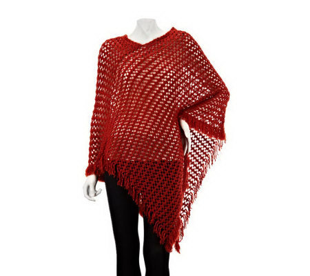 Collection 18 Open Waffle Knit Poncho with Fringe
