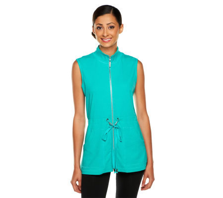 Susan Graver Weekend French Terry Zip Front Vest with Elastic Waist