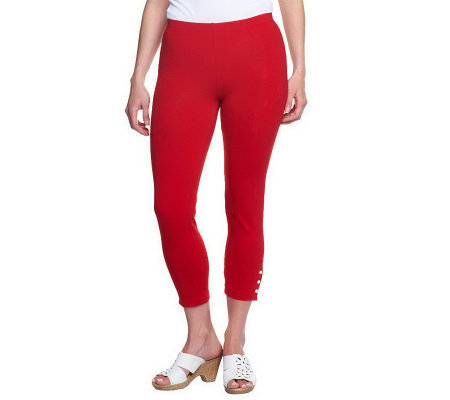 """As Is"" Susan Graver Stretch Cotton Crop Length Knit Leggings"