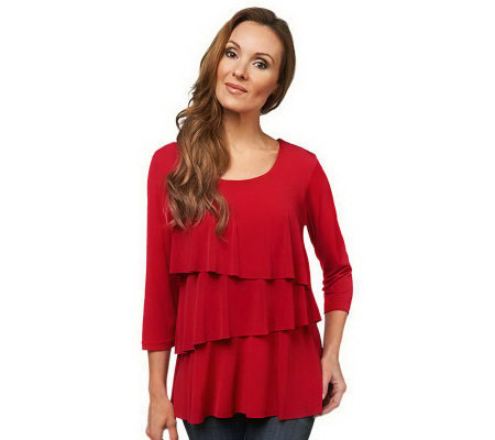 """As Is"" Susan Graver Liquid Knit Tiered 3/4 Sleeve Top"