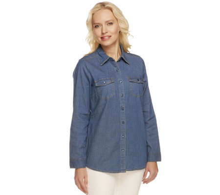 Denim & Co. Button Front Long Sleeve Denim Shirt