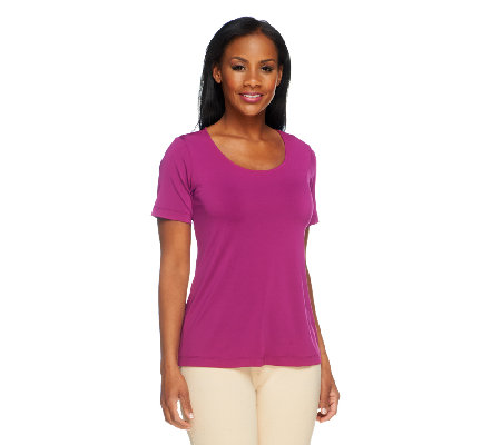 Bob Mackie's Jersey Knit Scoop Neck T-Shirt