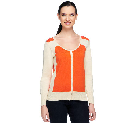 Styled by Joe Zee Color-Block Zip Front Cardigan