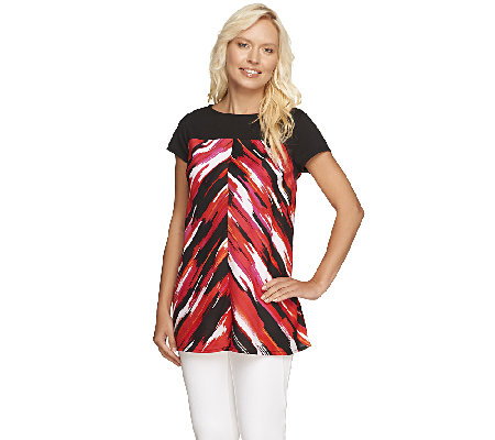 Styled by Joe Zee Watercolor Printed Top w/ Cap Sleeves