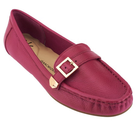 Isaac Mizrahi Live! Pebble Leather Moccasins with Buckle Detail