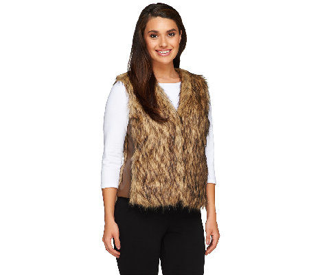 Nicole Richie Collection Faux Fur Vest with Pockets