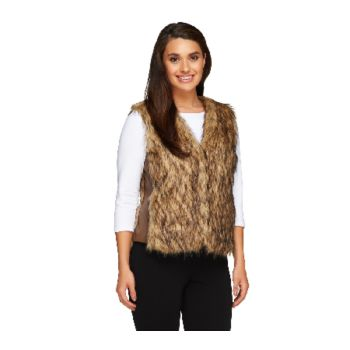 Nicole Richie Collection Faux Fur Vest with Pockets
