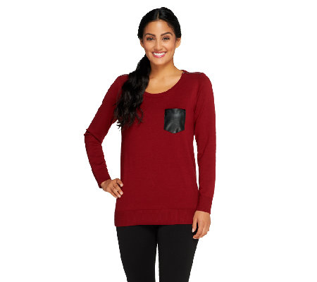 Susan Graver Crew Neck Sweater with Faux Leather Pocket
