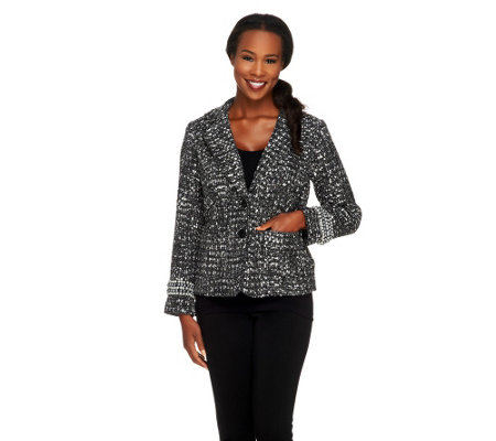 Joan Rivers Uptown Chic Boucle Jacket w/ Long Sleeves